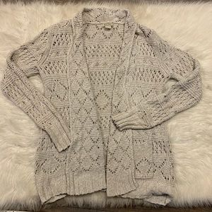 Lucky Brand Women's Beige Eyelet Cardigan Sweater